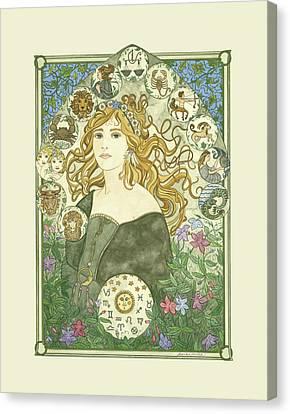 Art Nouveau Goddess Of Astrology Canvas Print