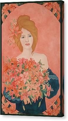 Art Nouveau Lilies Canvas Print
