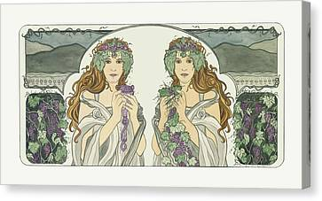 Art Nouveau Pinot Noir Vineyard Canvas Print by Dee Van Houten