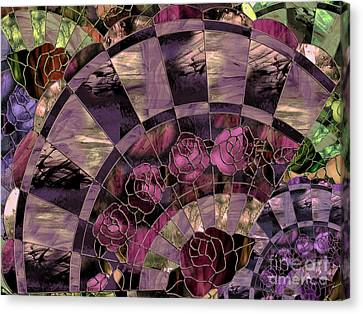 Glass Wall Canvas Print - Art Nouveau Stained Glass Fan by Mindy Sommers