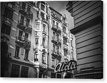 Art Nouveau Vienna In Black And White  Canvas Print