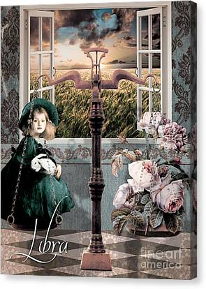 Art Nouveau Zodiac Libra Canvas Print by Mindy Sommers