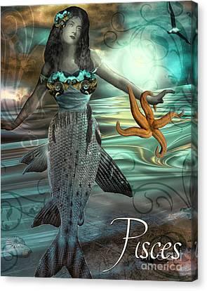 Art Nouveau Zodiac Pisces Canvas Print by Mindy Sommers