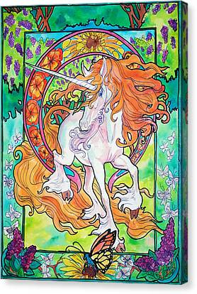 Art Nuevo Unicorn Canvas Print by Jenn Cunningham