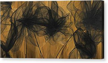 Art Of Elegance- Black And Gold Abstract- Muted Gold  Canvas Print by Lourry Legarde