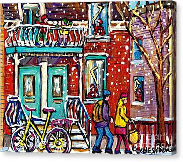 Art Of Urban Montreal Snowy Street Canadian Winter Scene Painting Carole Spandau                     Canvas Print by Carole Spandau