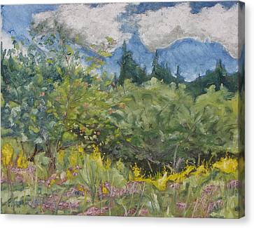 Art Oil Painting Plein Air Landscape August On The Field Canvas Print by Francois Fournier