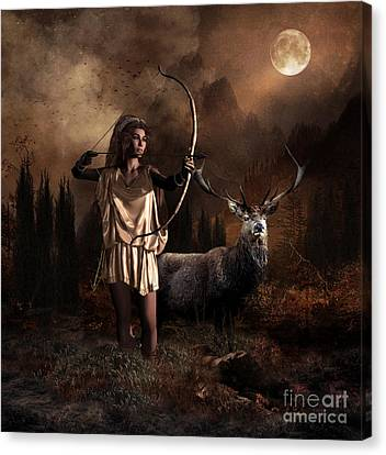 Artemis Goddess Of The Hunt Canvas Print by Shanina Conway