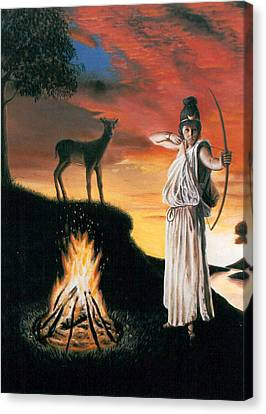Artemis Protector Of The Night Canvas Print by Neil Geddes-Ward