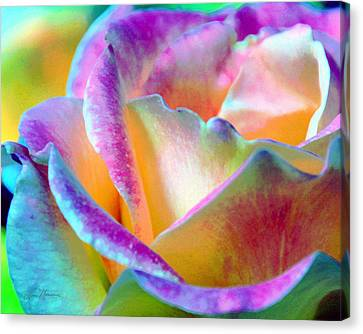 Artful Colorful Rose Canvas Print by Lorrie Morrison