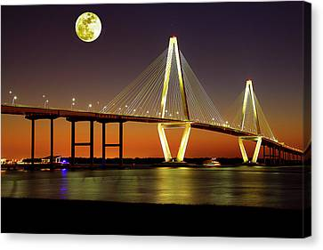 Arthur Ravenel Bridge At Night Canvas Print