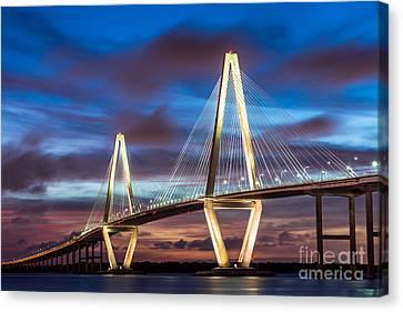 Arthur Ravenel Bridge At Night Canvas Print by Jennifer White