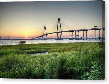 Arthur Ravenel Bridge Sunset Canvas Print by Dustin K Ryan