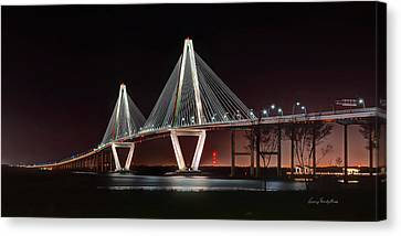 Canvas Print featuring the photograph Arthur Ravenel Jr. Bridge At Midnight by George Randy Bass