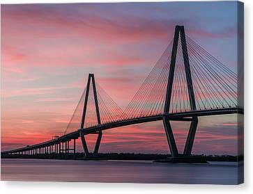 Arthur Ravenel, Jr. Bridge At Sunset Canvas Print by Justin Richardson