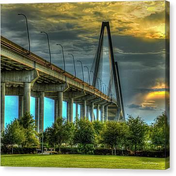 Island Stays Canvas Print - Arthur Ravenel Jr Bridge Charleston South Carolina Art by Reid Callaway