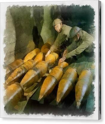 Artillery Men Wwii Canvas Print by Esoterica Art Agency