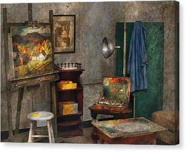 Artist - Painter - The Artists Studio Canvas Print by Mike Savad