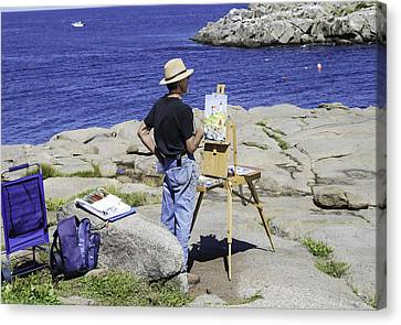 Artist At Easel Canvas Print - Artist At Work by Phyllis Taylor