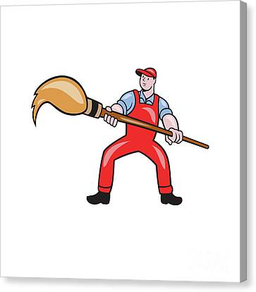 Artist Painter Standing Giant Paintbrush Cartoon Canvas Print