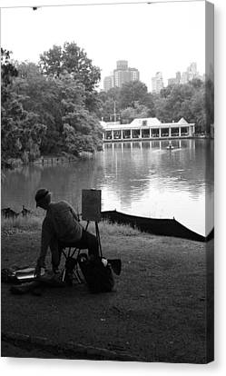 Artist Painting In Central Park Canvas Print by Christopher Kirby