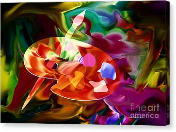 Artist Palette In Neon Colors Canvas Print