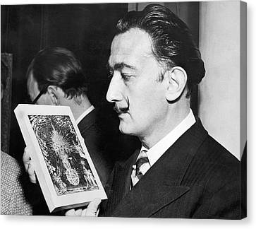 Artist Salvador Dali Canvas Print by Underwood Archives