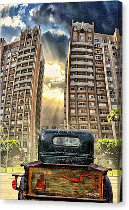 Artist Trucking In The Lbc Canvas Print by Bob Winberry