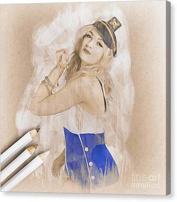 Artistic Pencil Drawing Of A Sailor Pinup Woman Canvas Print