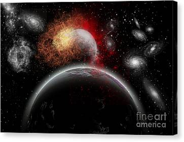 Artists Concept Of Cosmic Contrast Canvas Print by Mark Stevenson