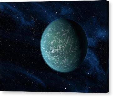 Terrestrial Canvas Print - Artists Concept Of Kepler 22b, An by Stocktrek Images