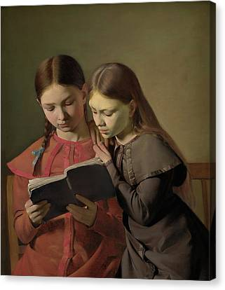 Artists' Sisters Signe And Henriette Reading A Book Canvas Print by Constantin Hansen