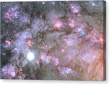 Canvas Print featuring the digital art Artist's View Of A Dense Galaxy Core Forming by Nasa