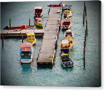 Canvas Print featuring the photograph Colorful Fishing Boats by Jean Marie Maggi