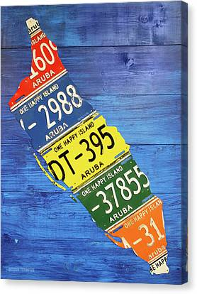 Aruba License Plate Map By Design Turnpike Canvas Print by Design Turnpike