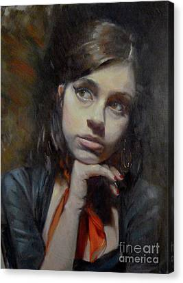 Chin On Hand Canvas Print - As Amy by Cheryl Magellen