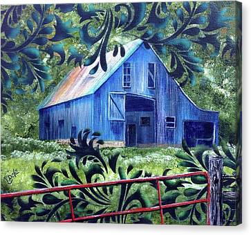 Surreal Barn Canvas Print - As I Remember It by Lorrie Bridges