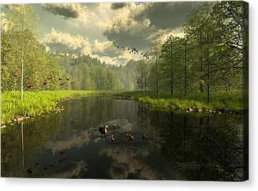 As The River Flows Canvas Print by Dieter Carlton