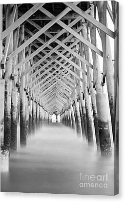 As The Water Fades Grayscale Canvas Print by Jennifer White