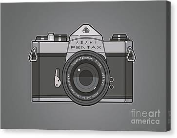 Asahi Pentax 35mm Analog Slr Camera Line Art Graphic Gray Canvas Print by Monkey Crisis On Mars