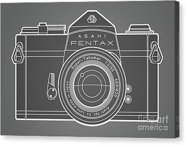 Asahi Pentax 35mm Analog Slr Camera Line Art Graphic White Outline Canvas Print by Monkey Crisis On Mars
