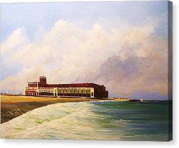 Canvas Print featuring the painting Asbury Park Convention Hall by Ken Ahlering