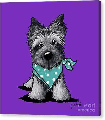 Ash Cairn Terrier In Dots Canvas Print by Kim Niles
