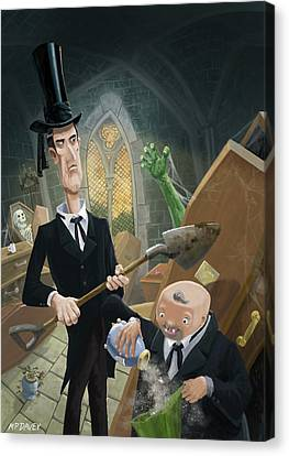 Canvas Print featuring the digital art Ashes Fun In The Funeral Crypt by Martin Davey