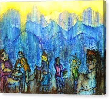 Asheville Drum Circle Canvas Print by Lizzie  Johnson