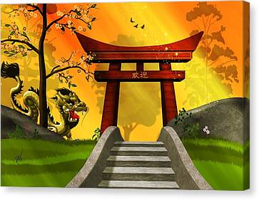 Asian Art Chinese Landscape  Canvas Print by John Wills