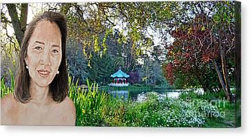 Asian Beauty Pusara By The Pagoda In Golden Gate Park Canvas Print