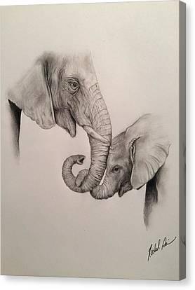 Asian Elephants - Love Canvas Print