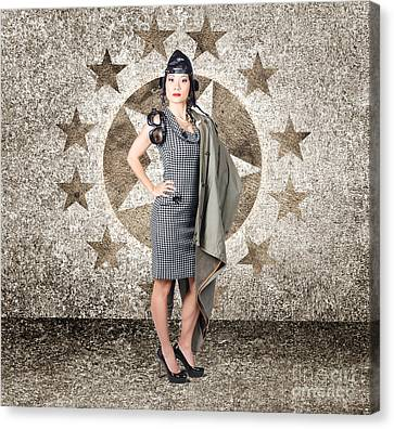 Asian Military Pinup Girl In Retro Air Force Style Canvas Print by Jorgo Photography - Wall Art Gallery