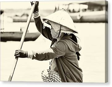 Asian Woman In A Boat Canvas Print by Georgia Fowler